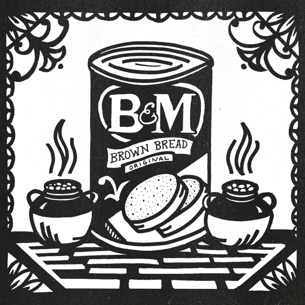 An illustration of a can of B&M brown. bread on a hearth, flanked by two pots of beans.