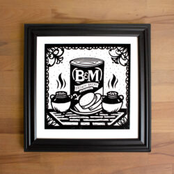Screen print shows a can of brown bread flanked by beans.