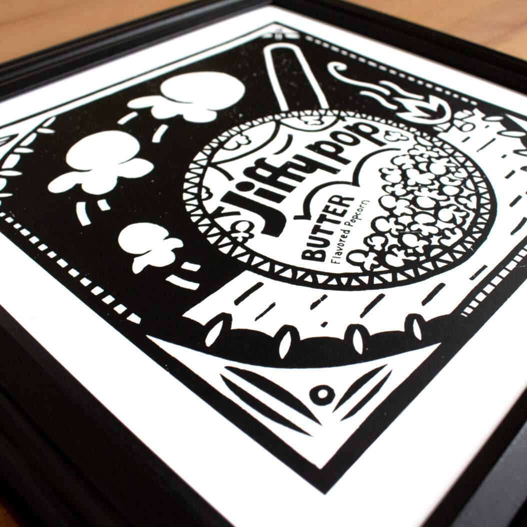 3/4 angle of Jiffy Print in Black frame