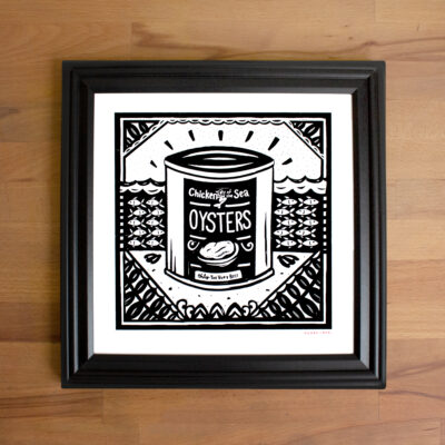 Picture of a rad oyster screen print in a black frame