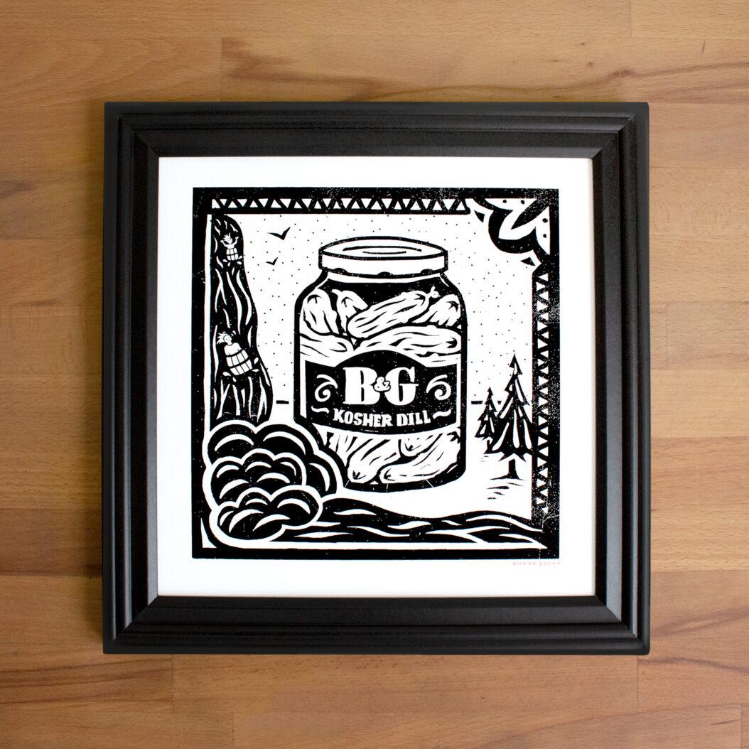 A print showing a jar of pickles at Niagara Falls.
