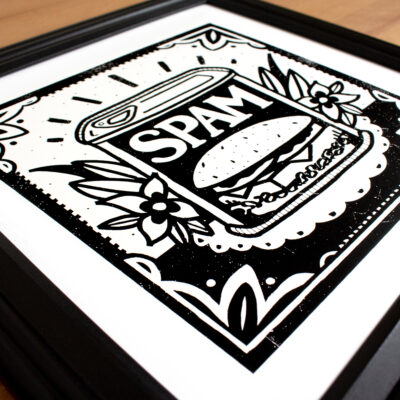 3/4 angle spam print in frame