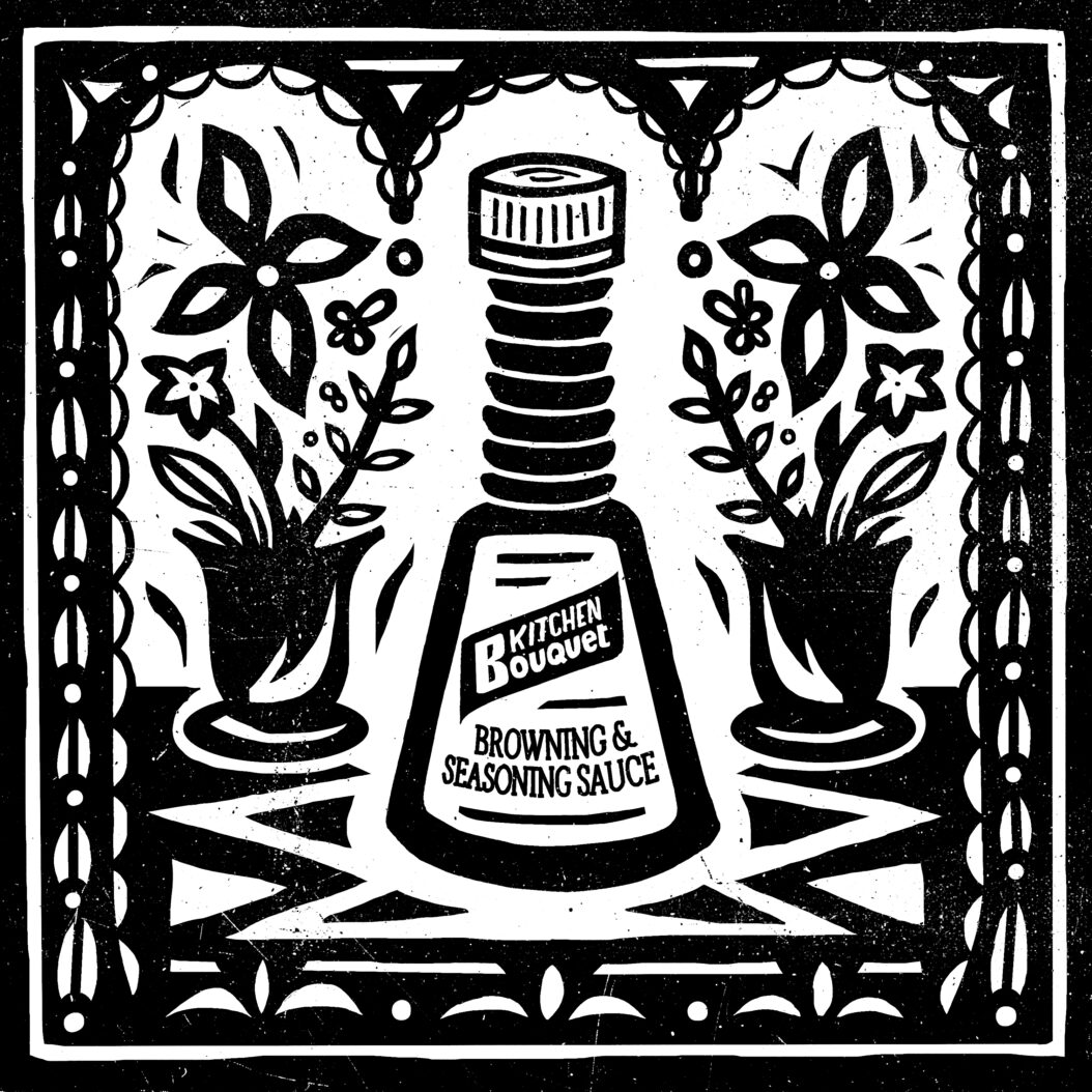 Indestructible Food Kitchen Bouquet sits between two floral bouquets in a black and white illustration.