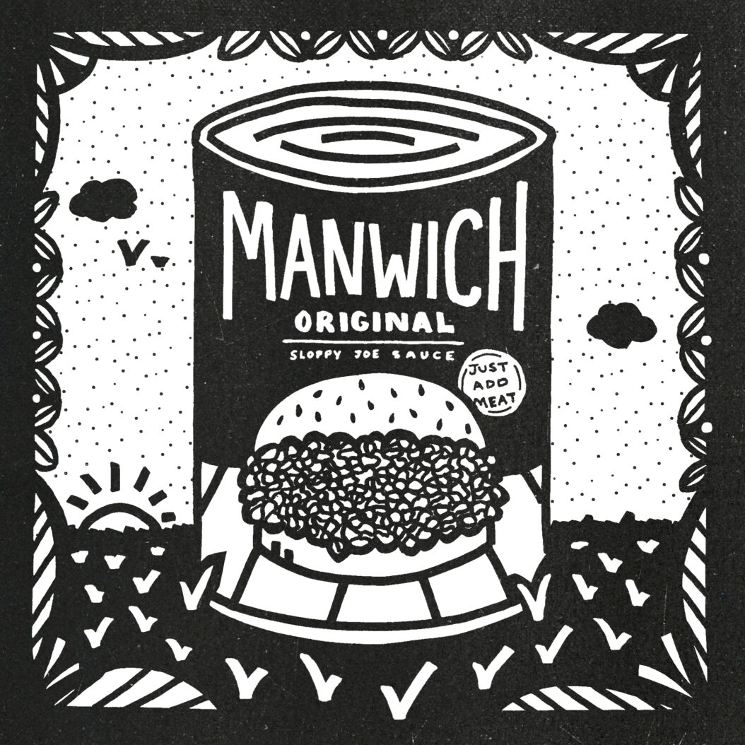An illustration of a can of Manwich sauce sitting in a peaceful meadow.
