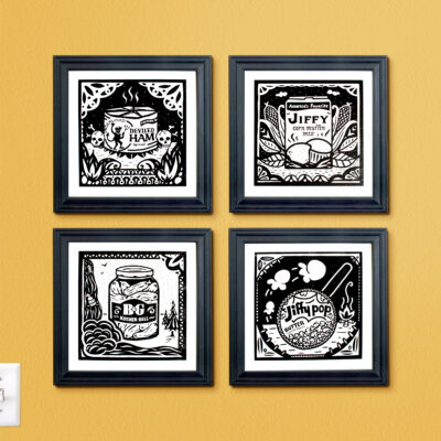Gallery wall displays four screen prints from this series.