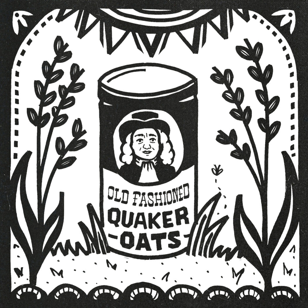 A canister of oats sits under a shining sun, flanked by oat stalks. The smiling quaker fellow denotes quality.