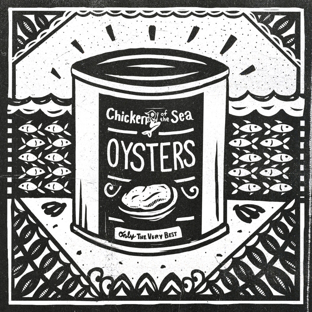 A can of oysters sits in a decorative ocean teeming with schools of fish. They are truly an indestructible food.