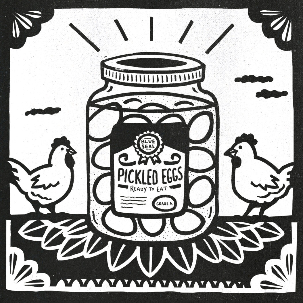A big jar of pickled eggs is flanked by two happy chickens.