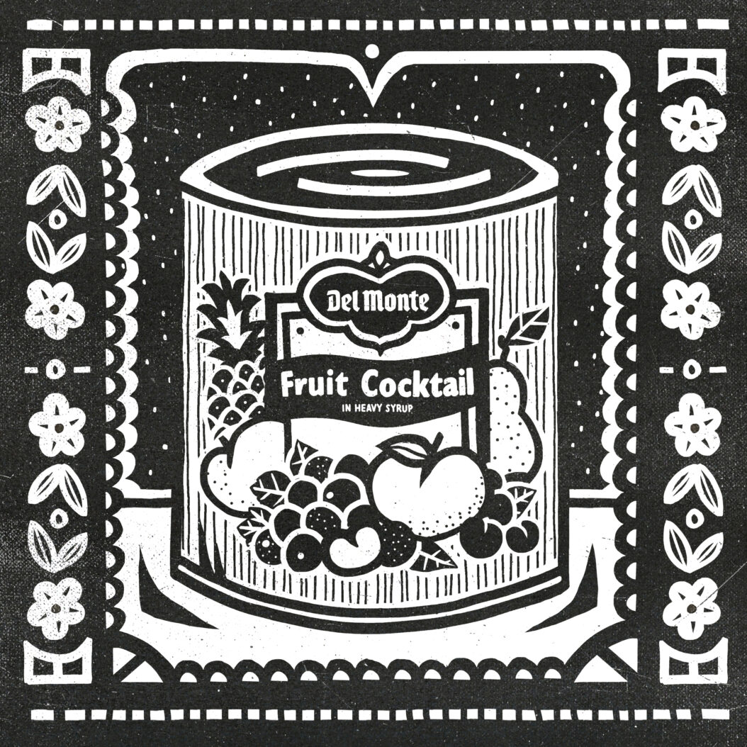 This Indestructible Food illustration shows a can of Del Monte Fruit Cocktail within a decorative border. The image is black and white.