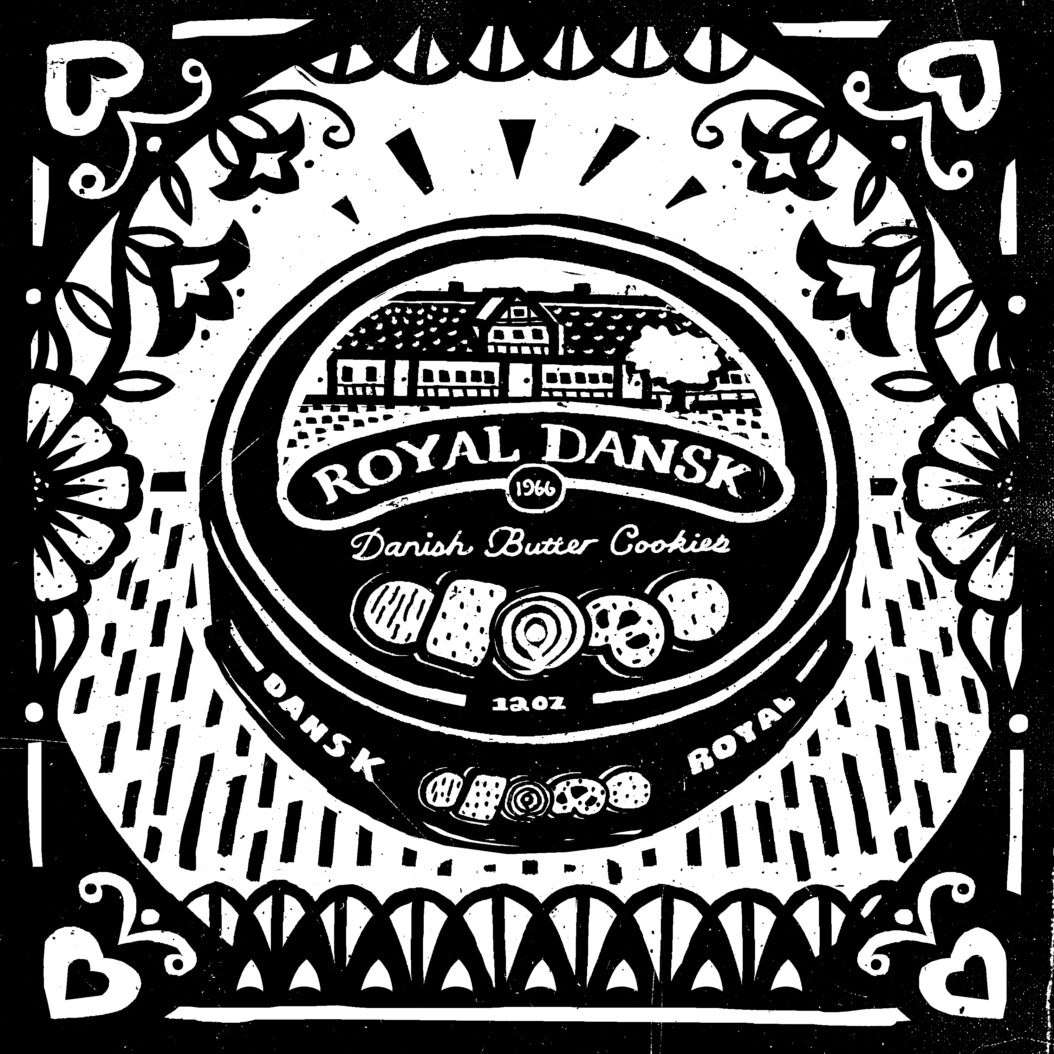 Black and white illustration of Royal Dansk Butter Cookies, an Indestructible Food.