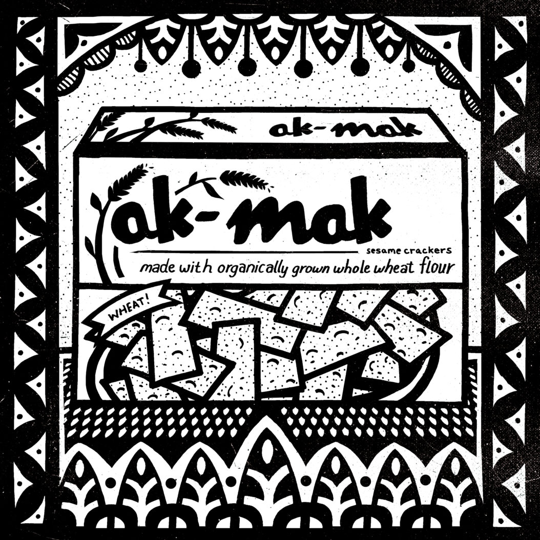 A black and white illustration of an indestructible food: ak-mak crackers.