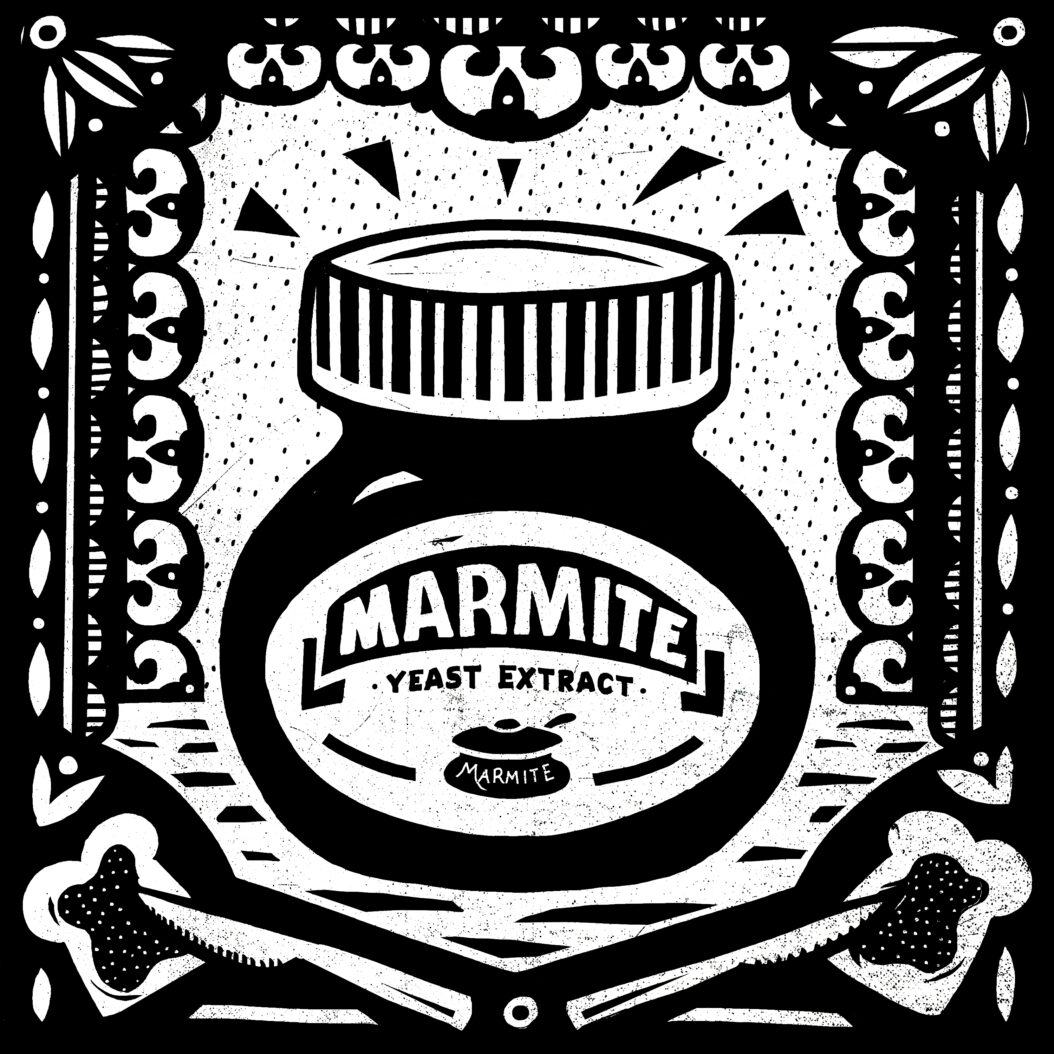 Black and white illustration of an Indestructible Food: Marmite.