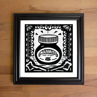 Framed Screen print of marmite.