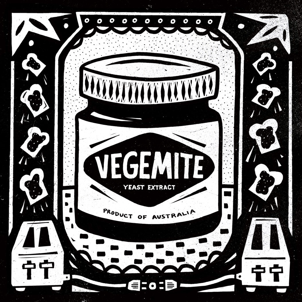Black and White illustration featuring an IndestructibleFood: Vegemite. Allso pictured is flying toast.