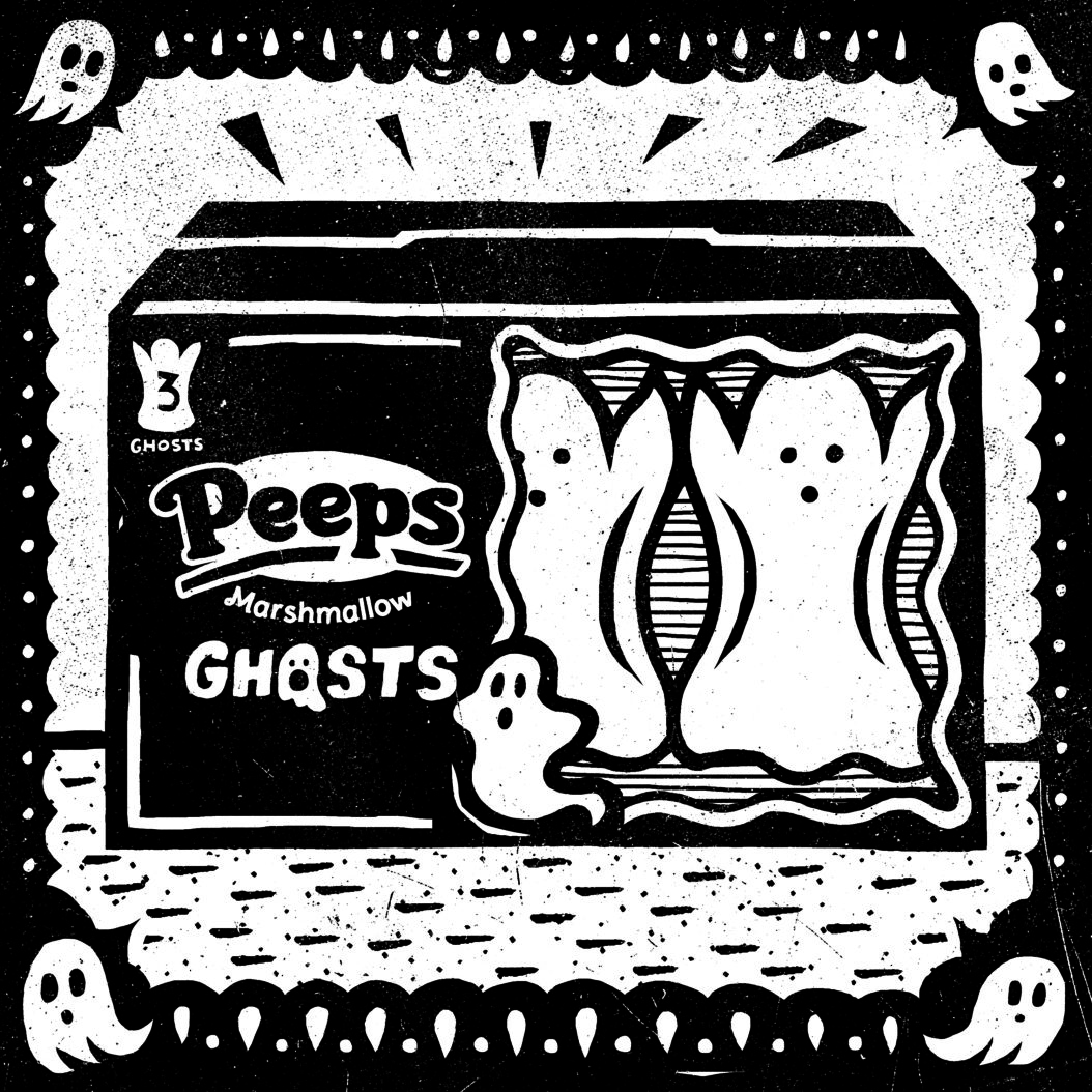A black and white illustration of marshmallow peeps.